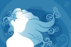 Jovem mulher com cabelo ondulado ilustração stock