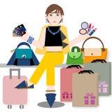 Jovem mulher com cartão e sacos de compras de crédito ilustração royalty free