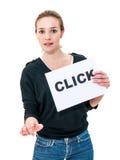 Jovem mulher com clique da placa fotografia de stock royalty free
