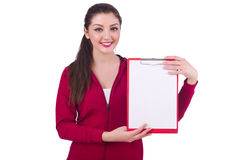 Jovem mulher com escrita do bloco de notas Imagem de Stock Royalty Free