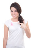 Jovem mulher com a fita cor-de-rosa do câncer no peito Imagem de Stock