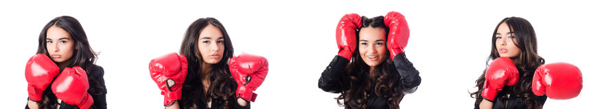 A jovem mulher com luva de encaixotamento Fotografia de Stock Royalty Free