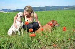 Jovem mulher com o cão branco e marrom no prado verde Imagem de Stock Royalty Free