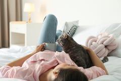 Jovem mulher com o gato bonito na cama em casa foto de stock royalty free