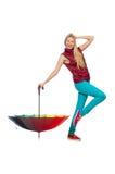 Jovem mulher com o guarda-chuva colorido isolado Fotografia de Stock Royalty Free