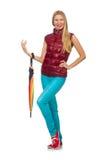 Jovem mulher com o guarda-chuva colorido isolado Imagens de Stock Royalty Free