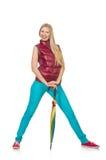Jovem mulher com o guarda-chuva colorido isolado Fotos de Stock Royalty Free