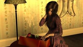 Jovem mulher com o vestido vitoriano que abre uma caixa de presente com Rosa vermelha ilustração do vetor