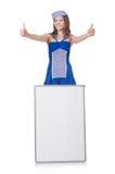 Jovem mulher com placa vazia Fotos de Stock