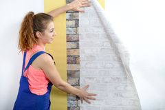 Jovem mulher com rolos do papel de parede Foto de Stock Royalty Free