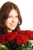 Jovem mulher com rosas imagens de stock