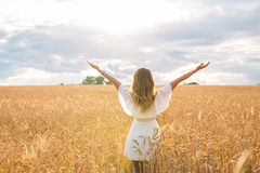 A jovem mulher com sua propagação larga dos braços está apreciando no dia de verão ensolarado, vista traseira fotos de stock