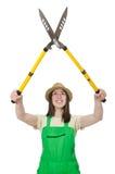 Jovem mulher com tesouras Imagem de Stock