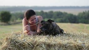 Jovem mulher com um cão no comedoiro Retrato de uma menina em um campo com um terrier filme