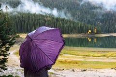 A jovem mulher com um guarda-chuva roxo anda no parque Durmitor do outono Fotografia de Stock Royalty Free
