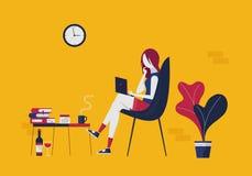 A jovem mulher com um portátil comunica-se através das redes sociais ilustração do vetor