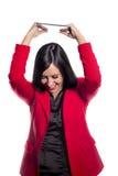 Jovem mulher com uma tabuleta Fotografia de Stock