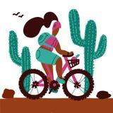 A jovem mulher com uma trouxa e vestir um capacete monta cactos grandes de um alonf do Mountain bike Desenhos animados brancos is ilustração royalty free