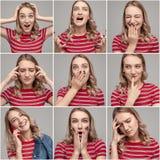Jovem mulher com várias emoções na colagem fotos de stock royalty free