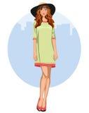 Jovem mulher com vestido e chapéu Fotos de Stock Royalty Free
