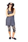 Jovem mulher completa do corpo que aprecia o verão no branco Imagem de Stock Royalty Free