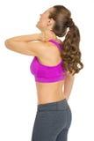 Jovem mulher da aptidão com dor de pescoço fotos de stock