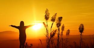 A jovem mulher da silhueta do por do sol que sente à liberdade e relaxa Foto de Stock