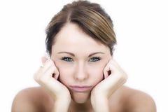 Jovem mulher de Fed Up Bored Frustrated Grumpy fotos de stock