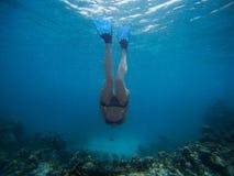A jovem mulher de Freediver nada debaixo d'água com tubo de respiração e aletas fotos de stock royalty free