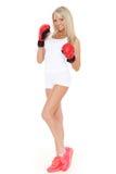 Jovem mulher em luvas de combate Imagem de Stock Royalty Free