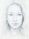 Jovem mulher do retrato do desenho com o ornamento na cara, preto e branco Contato de olho Foto de Stock Royalty Free