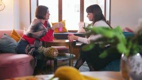 Jovem mulher dois que senta-se no café e que fala ao beber o café Vista superior vídeos de arquivo