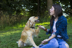 Jovem mulher e cão na floresta Imagem de Stock Royalty Free