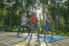 Jovem mulher e crianças que executam a ioga imagem de stock