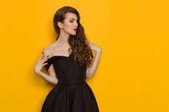 Jovem mulher elegante bonita no vestido de cocktail preto Imagens de Stock Royalty Free