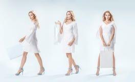 Jovem mulher elegante em três poses em uma foto Imagens de Stock Royalty Free