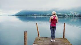 Jovem mulher em um cais de madeira Admira o cenário Lago mountain nos cumes, Áustria vídeos de arquivo
