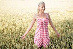 Jovem mulher em um campo de milho Imagens de Stock Royalty Free