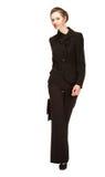 Jovem mulher em um terno de negócio com pasta Foto de Stock Royalty Free
