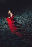 A jovem mulher em uma escada na madeira Fotos de Stock Royalty Free