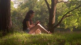 Jovem mulher em usos smartphone e tabuleta do parque vídeos de arquivo