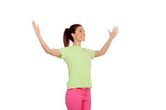 A jovem mulher engraçada com aumentou seus braços Fotos de Stock Royalty Free
