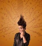 Jovem mulher entusiasmado com hairtsyle extremo e linhas tiradas mão Imagem de Stock
