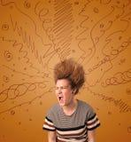 Jovem mulher entusiasmado com hairtsyle extremo e linhas tiradas mão Imagem de Stock Royalty Free