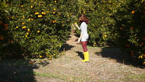 A jovem mulher está correndo no jardim alaranjado filme