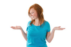 A jovem mulher faz a decisão Imagem de Stock