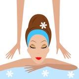 A jovem mulher faz massagens ilustração do vetor