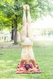 A jovem mulher faz pinos em um parque Fotos de Stock
