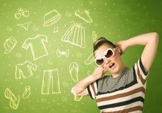 Jovem mulher feliz com ícones dos vidros e da roupa ocasional Imagens de Stock Royalty Free