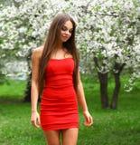 Jovem mulher feliz no vestido vermelho contra o flo da mola do fundo Fotografia de Stock
